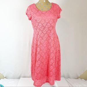 Motherhood Pink Stretch Lace Dress Maternity